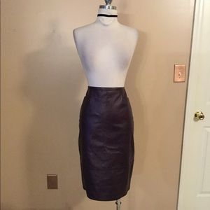 Vintage purple leather lambskin pencil skirt Sz 8